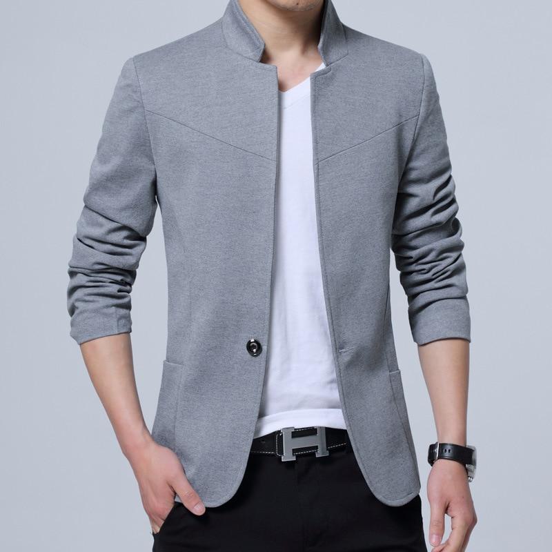 Grande taille 5XL Blazer hommes col Mandarin Americana Hombre affaires décontracté Silm Fit Blazer Masculino couleur Pure Blazers hommes costumes - 5