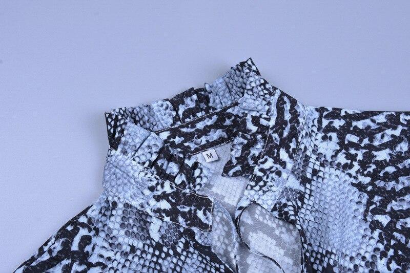 Forefair Snake Print Blouse Women Turtleneck (4)