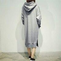 Женская с длинным рукавом Свободные повседневные свитшот большого размера толстовки Длинное Платье Макси