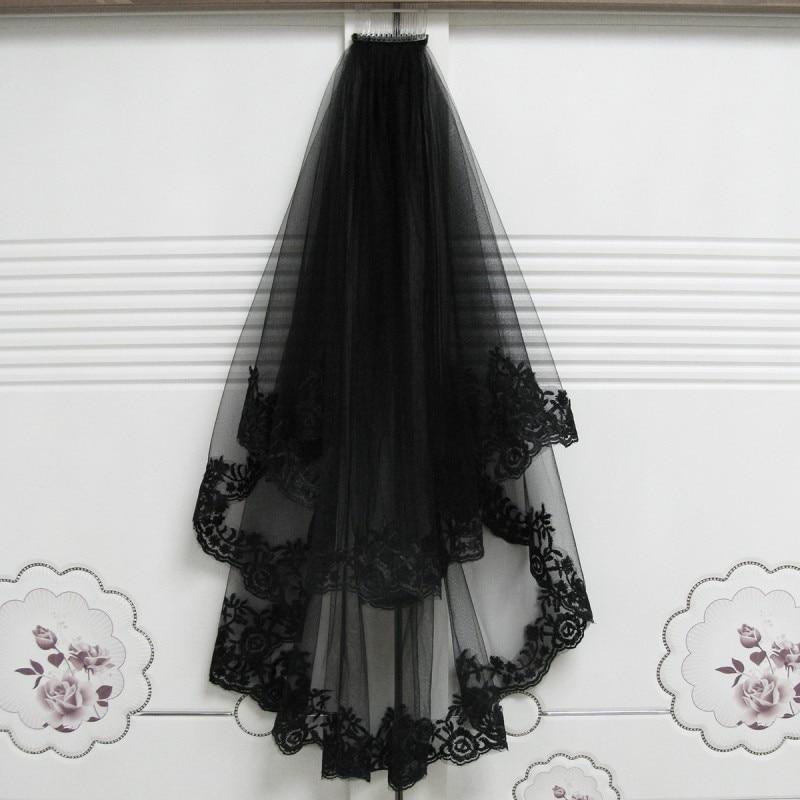 Zwarte bruidssluier met kam kort kant geappliqueerde rand tule bruids - Bruiloft accessoires - Foto 1