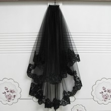 Black Wedding Veil With Comb Short Lace Appliqued Edge Tulle Bridal Veil Two Layer 75 CM Elbow Length Wedding Accessories 2018