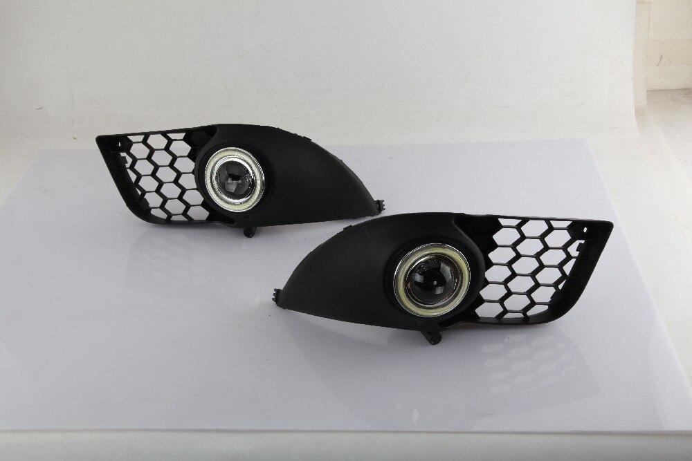 Osmrk led DRL COB angel eye (5 colors) + halogen fog lamp + projector lens + fog lamp cover for MITSUBISHI Lancer LX EX, 2pcs ownsun innovative super cob fog light angel eye bumper cover for skoda fabia scout