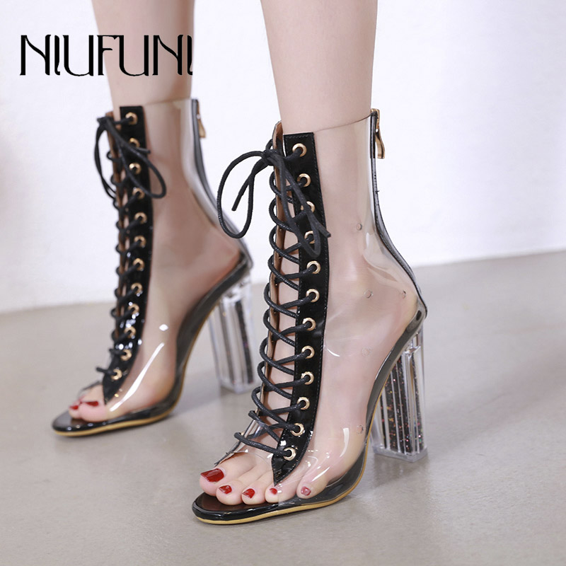Women Peep Toe Boots Spring Autumn Ankle Boots PVC Clear Heel Woman Transparent Block High Heels Bootie Mujer Boots Shoes Women
