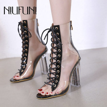 Women Peep Toe Boots Spring Autumn Ankle Boots PVC Clear Heel Woman Transparent Block High Heels Bootie Mujer Boots Shoes Women недорого