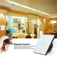 QIACHIP 3 Gang EU Standard Touch Screen Smart Switch Surface Waterproof Tempered Glass 220V RF433MHz Lighting