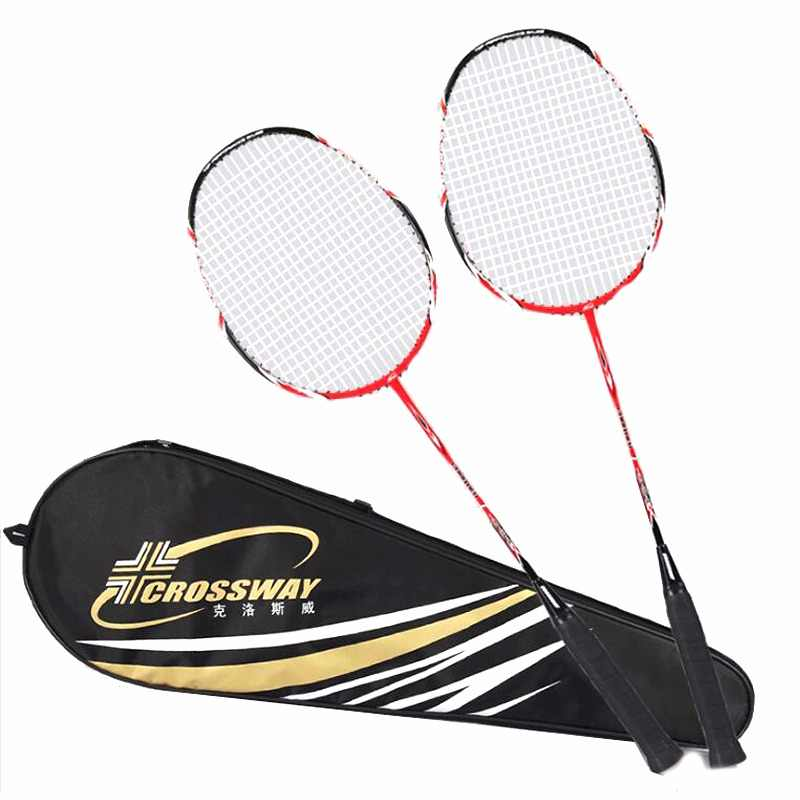 Crossway Professional Badminton Rackets Light Weight Carbon Badminton Rackets raquette de badminton 1 Pair with Bag