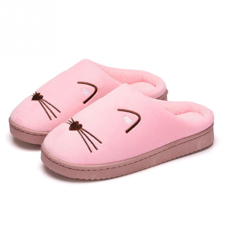 Autumn Winter Cat Cotton Plush Slippers Women Warm Soft Home Indoor Slippers Faux Fur Slides Ladies Non-slip Mules Pink Zapatos~ faux fur padded pinstripe warm slippers