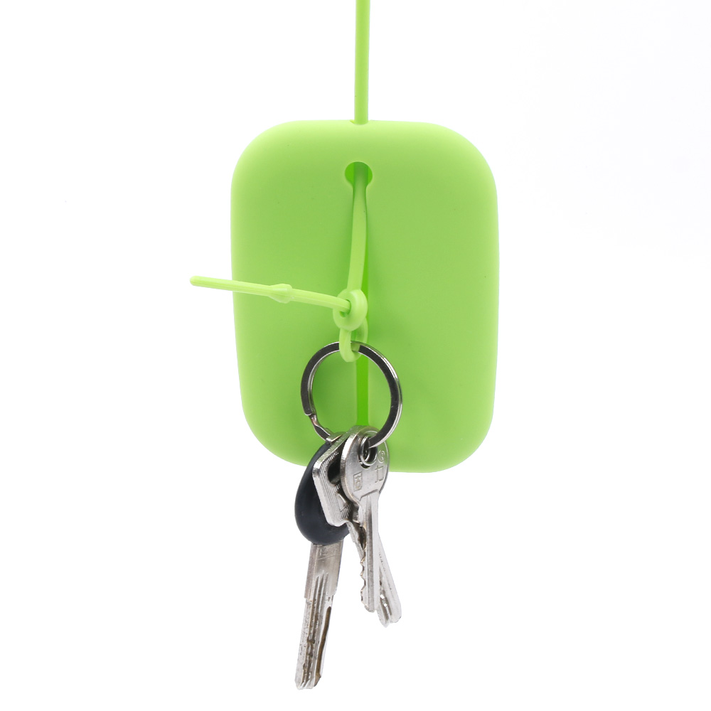 ISKYBOB New Green Silicone Keyring Key Bag Card Pouch Holder Keyring Bag New Year Gifts