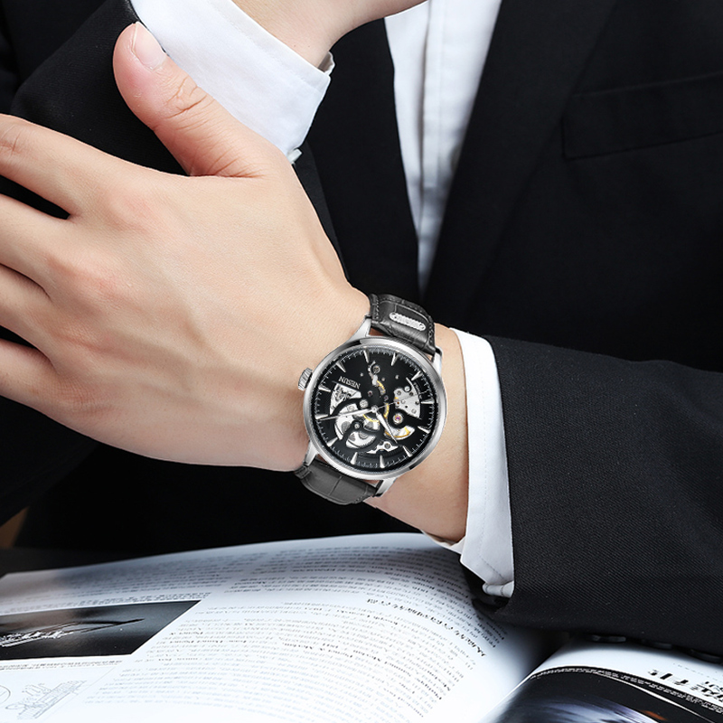 Mechanical Watches Men Skeleton Gold Watch Automatic Mechanical Mens Watches 30M Waterproof Self-winding Stainless Steel Clocks nbw0he6767 men s stainless steel skeleton mechanical self winding analog wrist watch grey white