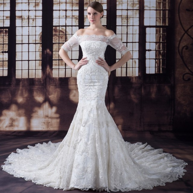 1c4537339bd2 iLoveWedding Mermaid Wedding Dresses Boat Neck Half Sleeve Satin Lace  Appliques Beading Sequined Bridal Gowns YW0001
