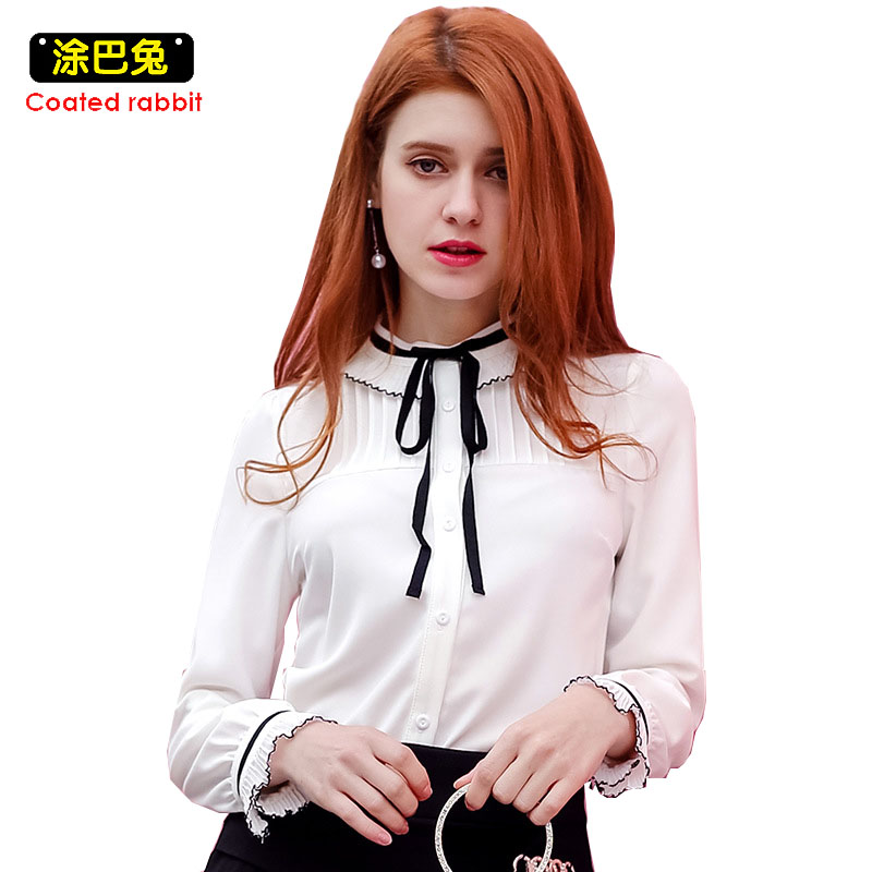 CR 2018 Spring Chiffon Blouse Bow Stand Collar Shirt Pleated Long Sleeve Chiffon Tops White Casual Office OL Wear
