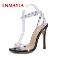 ENMAYLA New fashion summer lady classic extremely high heel sandals lady open toe rivet sandals ZYL445