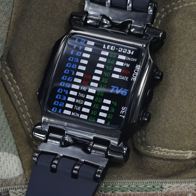 2018 new brand TVG Rubber Band waterproof cool geek LED Digital Sports Watches Black Men Luxury Fashion Binary Gift Clock Watch  4