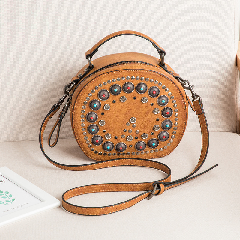 2018 crossbody bags for women leather handbags luxury handbags women bags designer rivet round shoulder tote bag sac a main