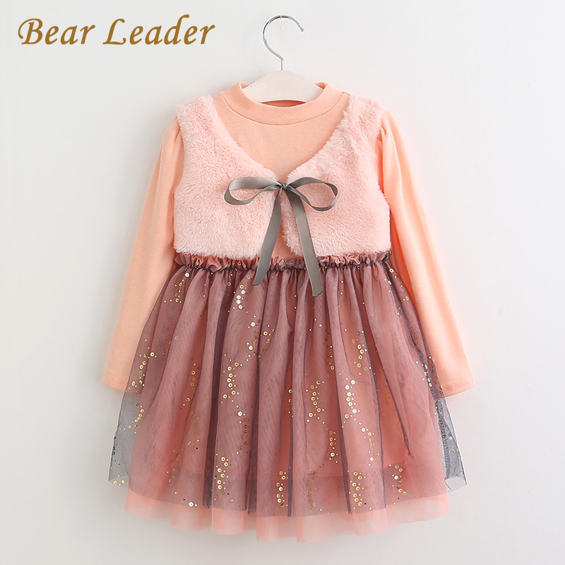 Bear Leader Girls Dress 2018 New Autumn Casual Style Cartoon Pink Long Sleeve Wool Bow Design For Princess Dress Girls Clothes bear leader girls dress 2017new brand print princess dress autumn style petal sleeve flowers print design for children clothes