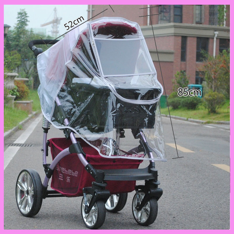 Baby Stroller Rain Cover with PET Window Two-way Zipper Baby Stroller Raincoat Handle Cover Baby Car Seat Cover Pram Accessories