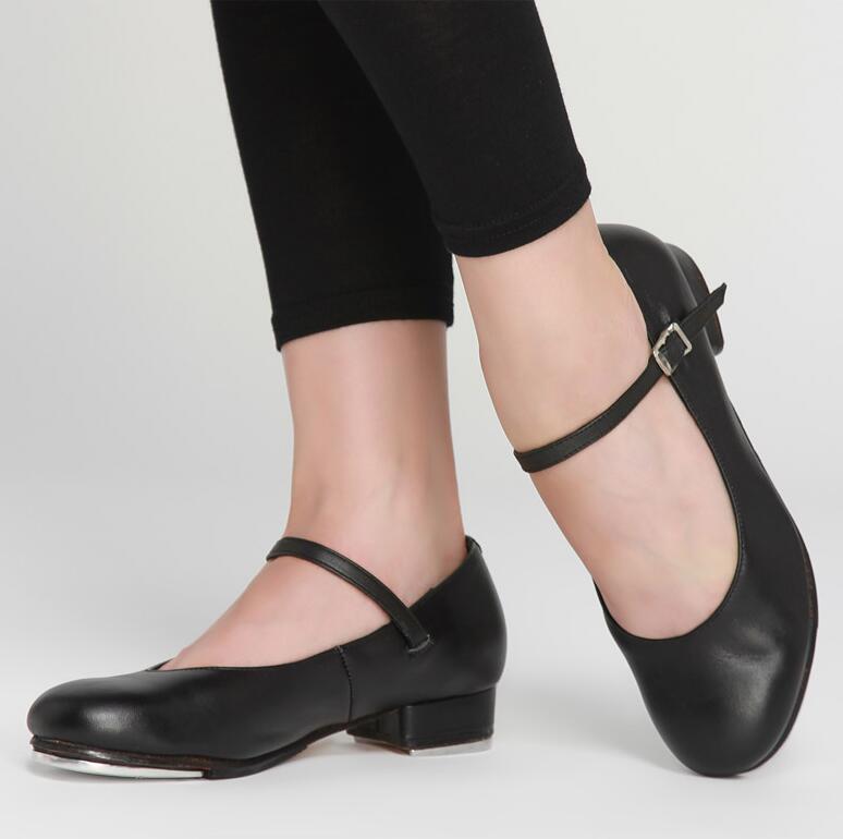 Clearance Pris Cow Leather Women's Tap Dansesko Plus Størrelse Girls Clogging Trykk Dansesko EU34-EU44 Black Tan Colors