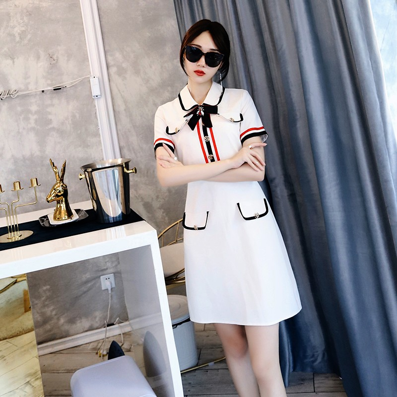 Robe mujer verano designer robes piste 2018 haute qualité femmes summered casual polo t-shirt voir à travers la robe mini robe
