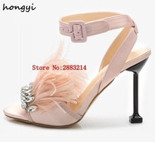 2017 New Summer Crystal Party Chic Feather Sandals Women Heel Cross Band  Buckled Luxury Satin Rhinestone High Heel Shoes Woman 53188f5a535c