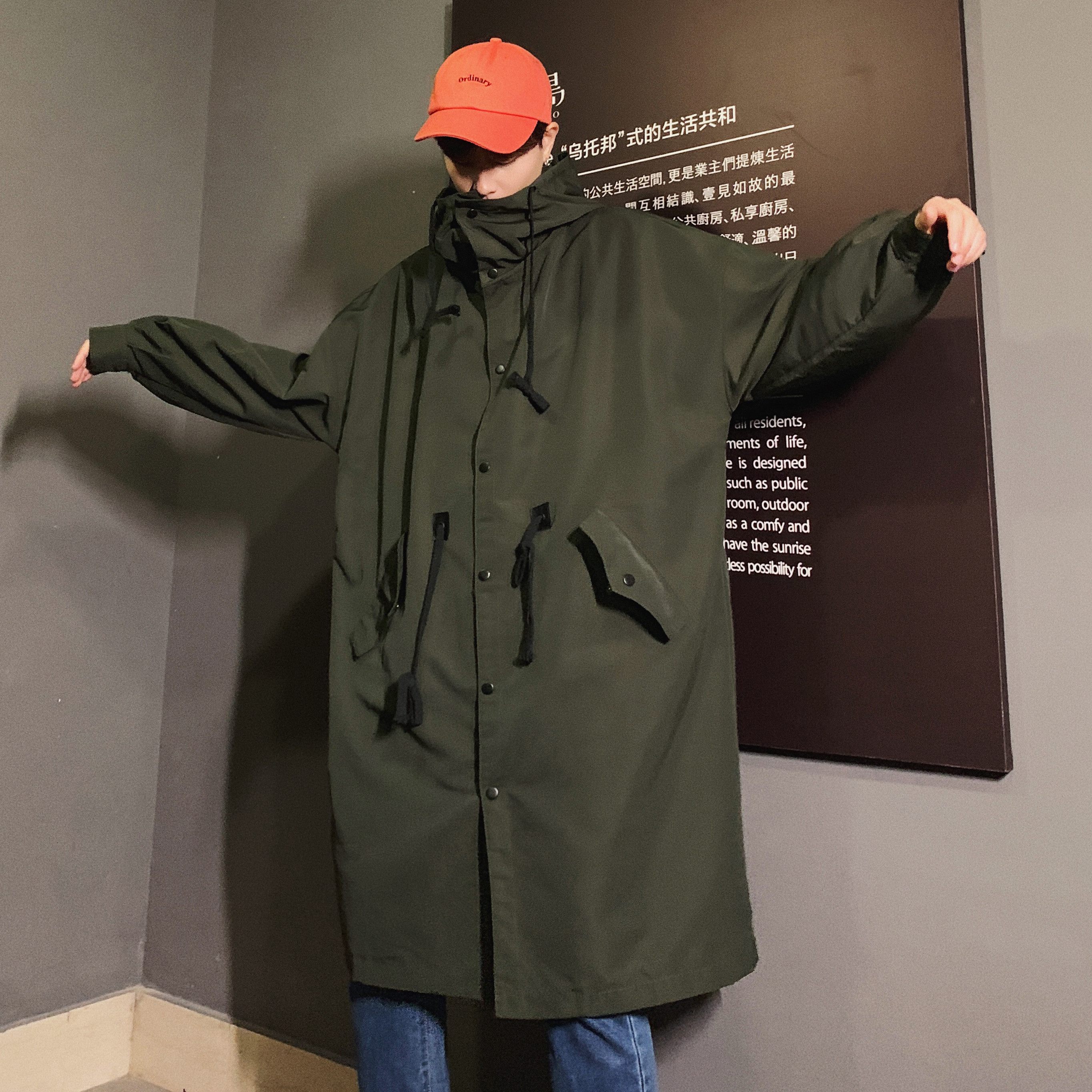 2019 Men's Long Clothes Solid Color Even Hat Windbreaker Tide   Trench   Male Loose Black/green Coats Fashion Outerwear Size M-XL