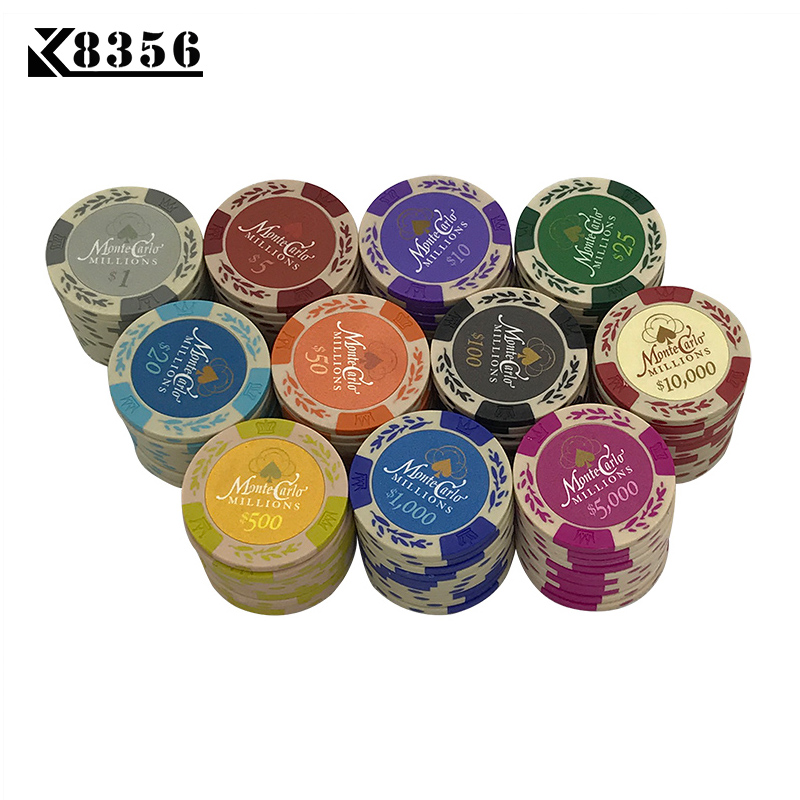 K8356 25PCS/Lot Dollar Wheat Film Clay Chips Coins Baccarat Texas Holdem Color Crown Clay Poker Playing Chips Pokerstars 14g