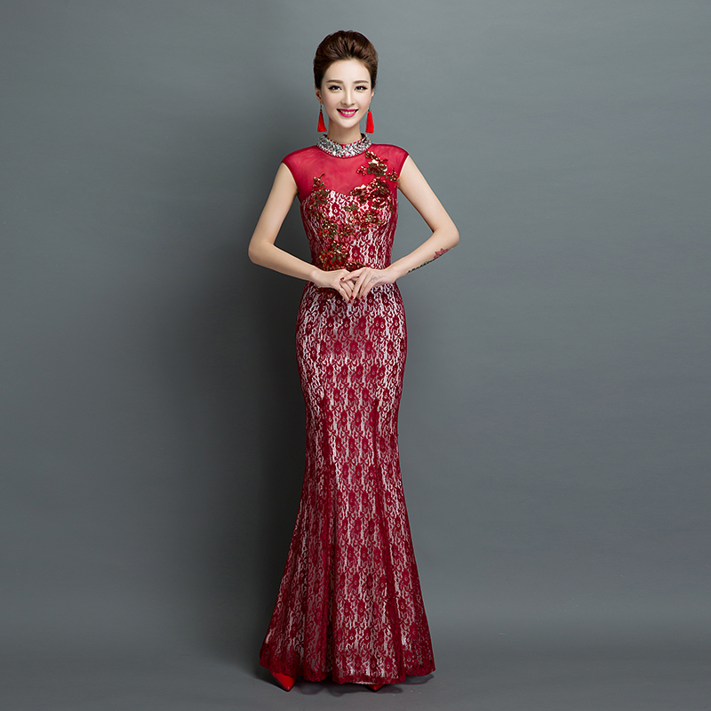 Red Lace Evening Party Dress 2016 New High Collar Beading Fish Tail Y Slim Custom Made Bride Formal Dinner Costume In Dresses From Weddings