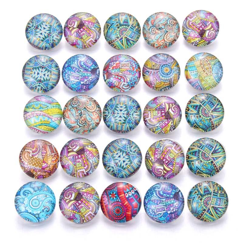 10 шт./лот, смешанные цвета и узор, 18 мм, стеклянные кнопки, ювелирное изделие, граненое стекло, оснастка, подходят, оснастки, серьги, браслет, ювелирное изделие