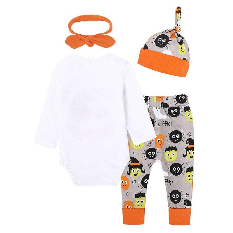Осенняя детская Хэллоуин Тыква комплекты для малышей 4 шт. одежда с длинными рукавами из хлопка для младенцев Для мальчиков и девочек ткань ...