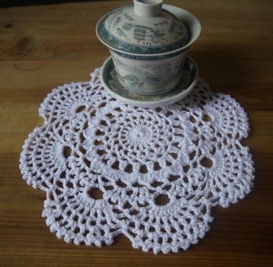 Handmade Crochet Pattern Doily Placemats Tables Vases Porcelain
