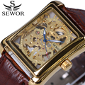 SEWOR Vintage Series Men's Watch Brown Leather Mechanical Skeleton Watches Top Brand Gold Dial Luxury Wristwatch relojes 2017