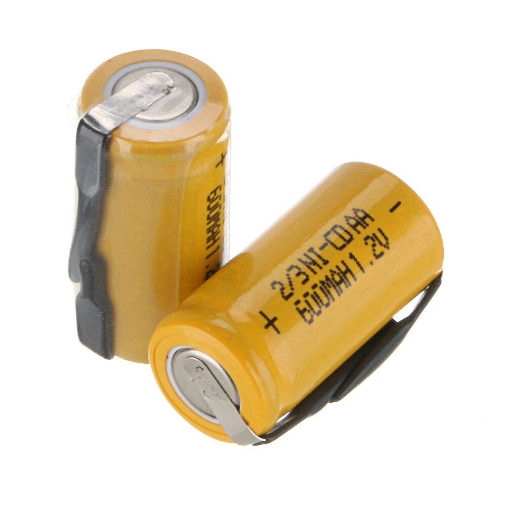 2pcs Anmas Power 1.2V 600mAh 2/3 AA Ni-CD Rechargeable Battery Yellow Color Ni-cd Rechargeable Batteries 28mm X 14mm