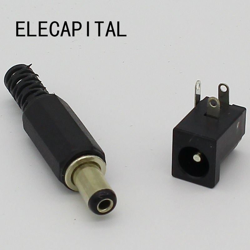 5.5X2.1mm DC Power Female Plug Jack + Male Plug Jack Socket Adapter