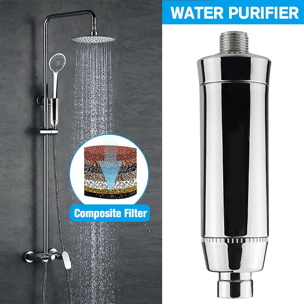 Home Water Purifier Chlorine Shower Filter Activated Carbon Faucets Purification Eliminates Chlorine Hard Water Bathroom