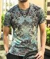 New men tshirt summer vintage short sleeve Flower 3d print t shirt men brand cotton t-shirt men fashion 2016 tops Men's Clothing
