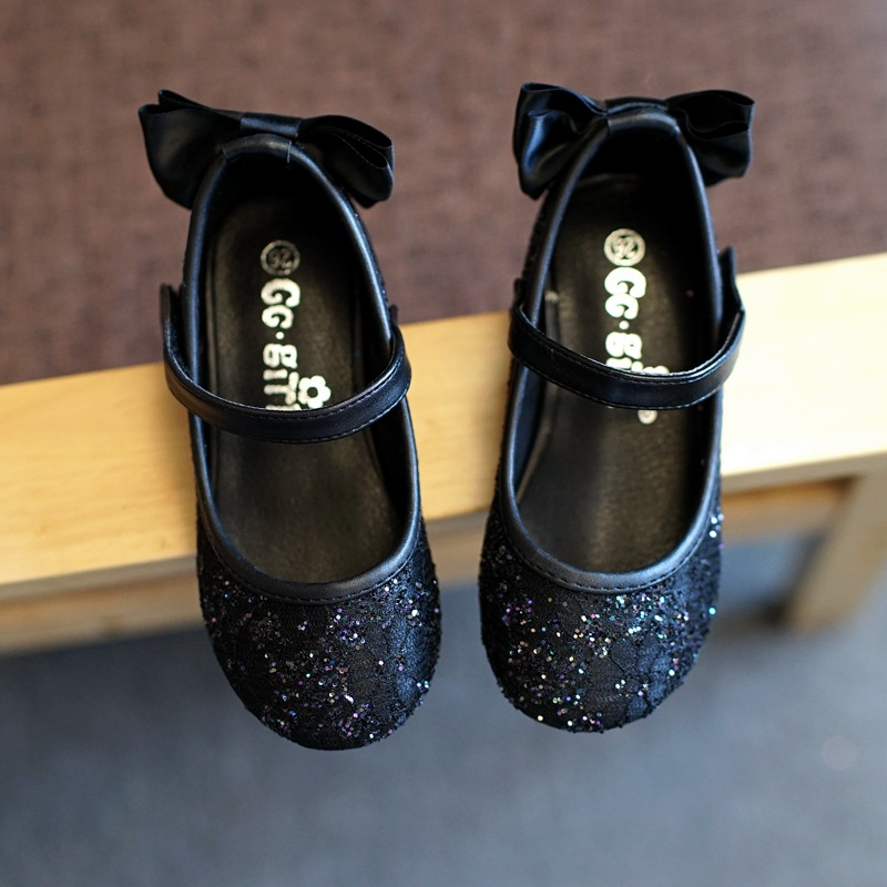 Shoes Little-Girls Princess Black Kids Children for Bow-Tie Soft-Pretty Comfortable Sweet