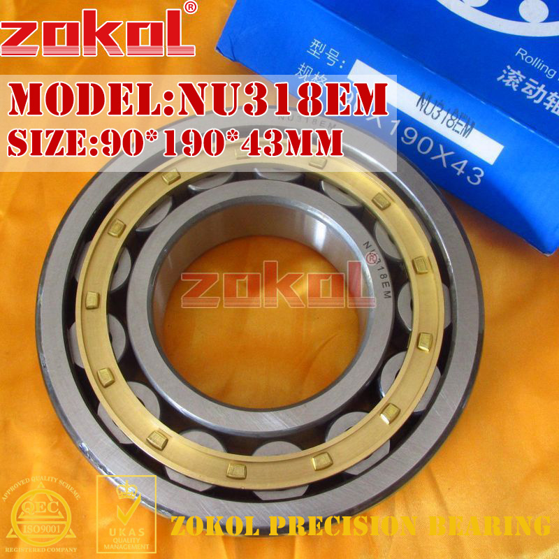 ZOKOL NU318 E M bearing NU318EM 32318EH Cylindrical roller bearing 90*190*43mmZOKOL NU318 E M bearing NU318EM 32318EH Cylindrical roller bearing 90*190*43mm
