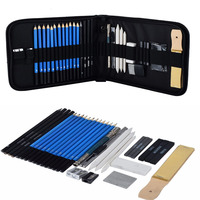 33 Piece Set Drawing And Sketch Kit Sketching Set Graphite Charcoal Pencils Sketchbook Art Drawing Supplies