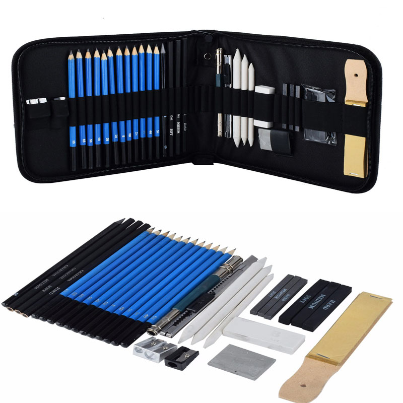 33 piece/Set Drawing and Sketch Kit Sketching Set Graphite & Charcoal Pencils Sketchbook Art Drawing Supplies Set for Artists