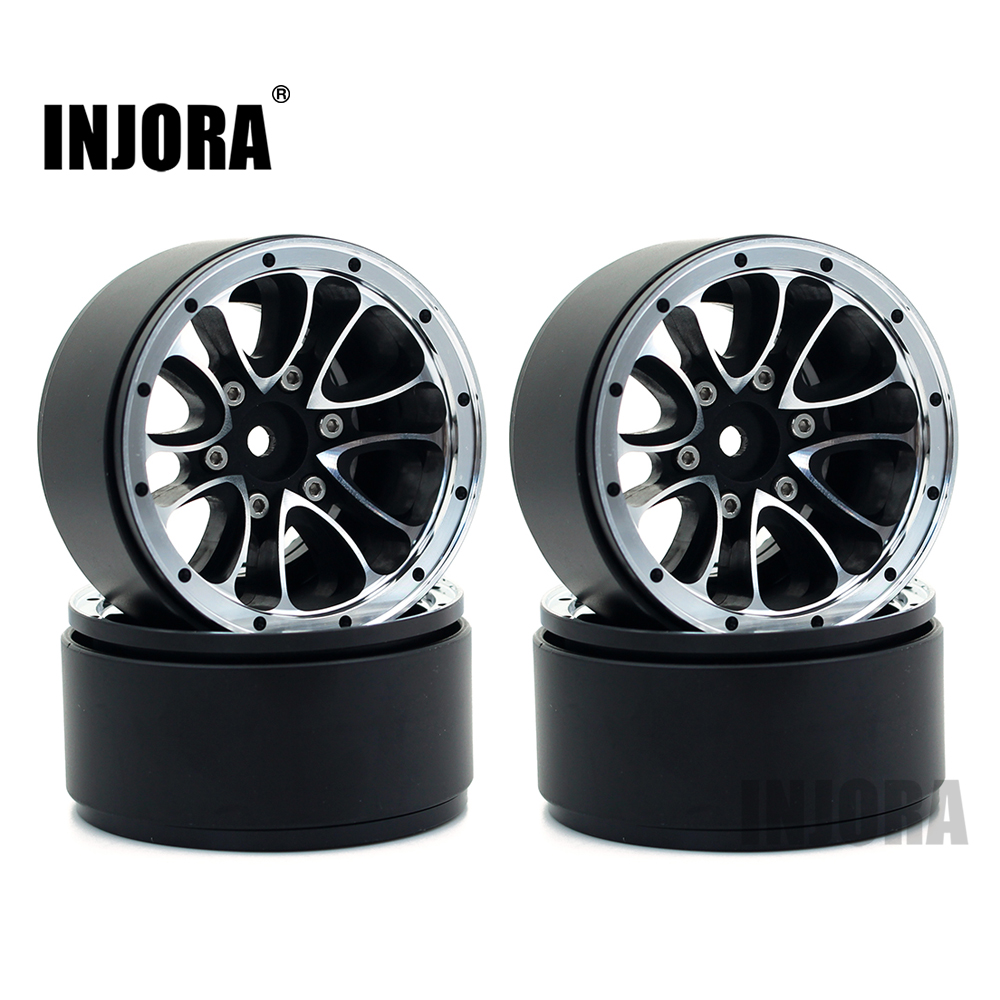 INJORA 4pcs 1.9 Beadlock Wheel Rim for 1:10 RC Crawler Axial SCX10 90047 90046 TAMIYA D90 D110 RC Car Wheel Hub injora 4pcs wheel rim
