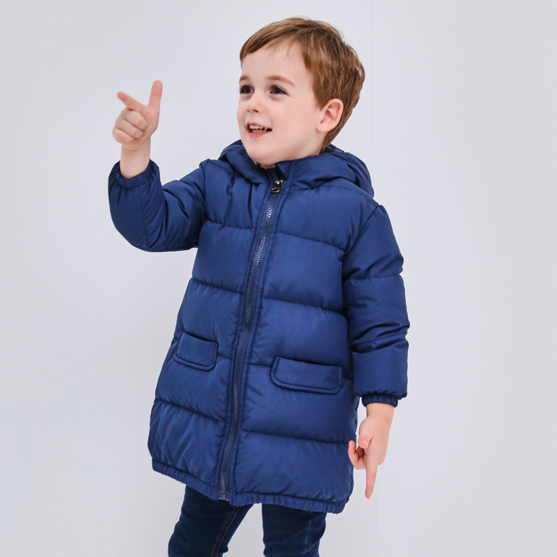 FYYIYI2018Autumn  winter new men  women children's clothing white duck down jacket thickening in the long hooded jacket top quality maternity long jacket 90% white duck down coat winter mother cotton padded loose clothing thickening white black red