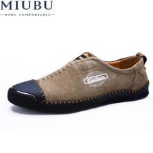 MIUBU Brand Mens Loafers Leather Classic Moccasins Men Casual Shoes Comfortable shoes with comfortable feet
