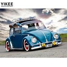 Yikee Алмазная вышивка синий авто полный квадратный дом Санты
