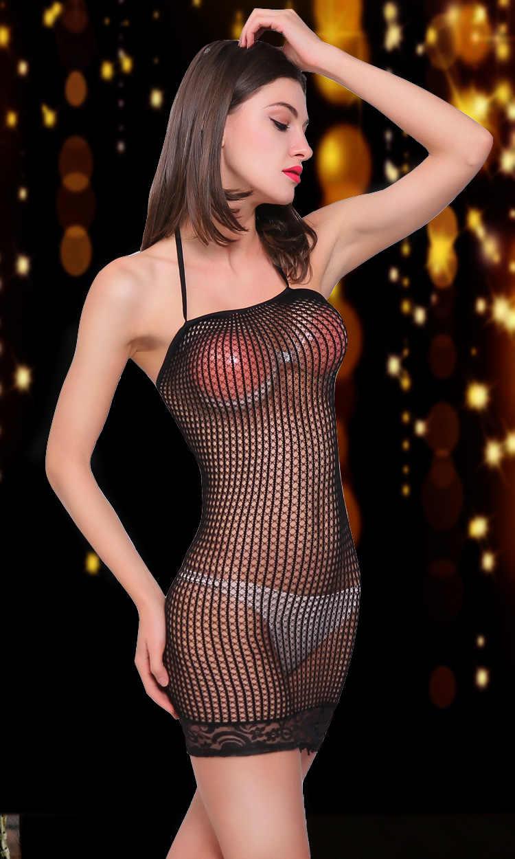 ホット女性のエロポルノセクシーなランジェリーパジャマ網シームレス股ミニボディ在庫ナイトウェア寝間着ナイトの衣装