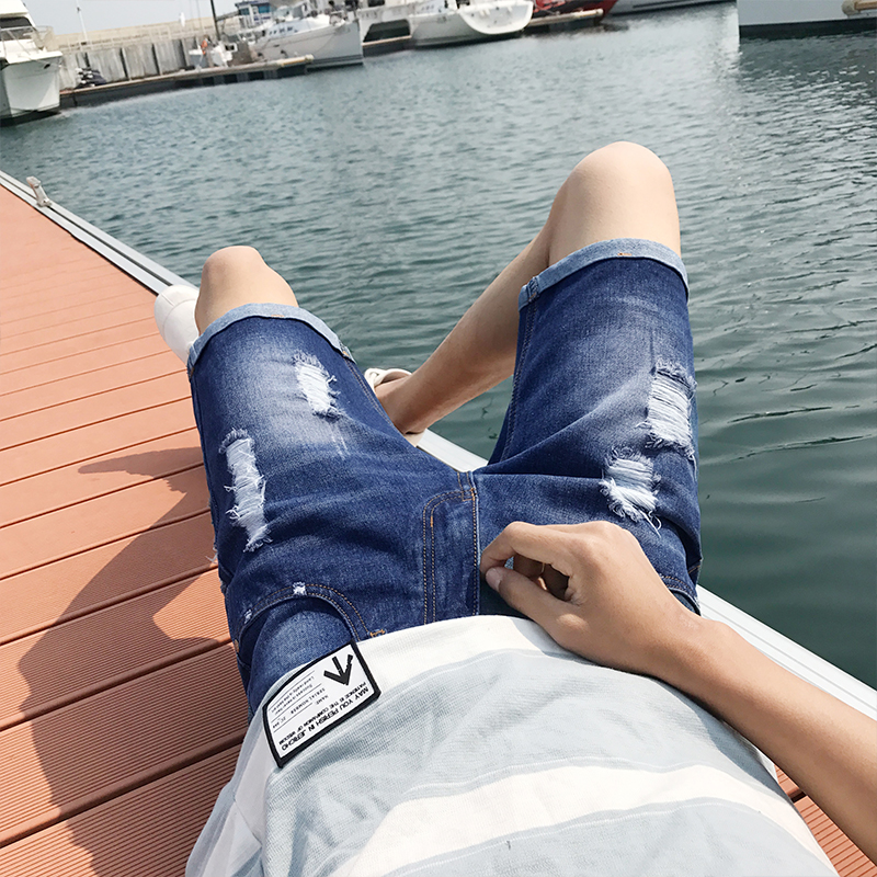 Mens Denim Shorts Slim Regular Casual Knee Length Short Hole Jeans Shorts For Men New Summer Blue