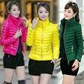 Nova moda feminina Casual peso leve inverno casacos com capuz Slim Down Jacket Coat sobretudo
