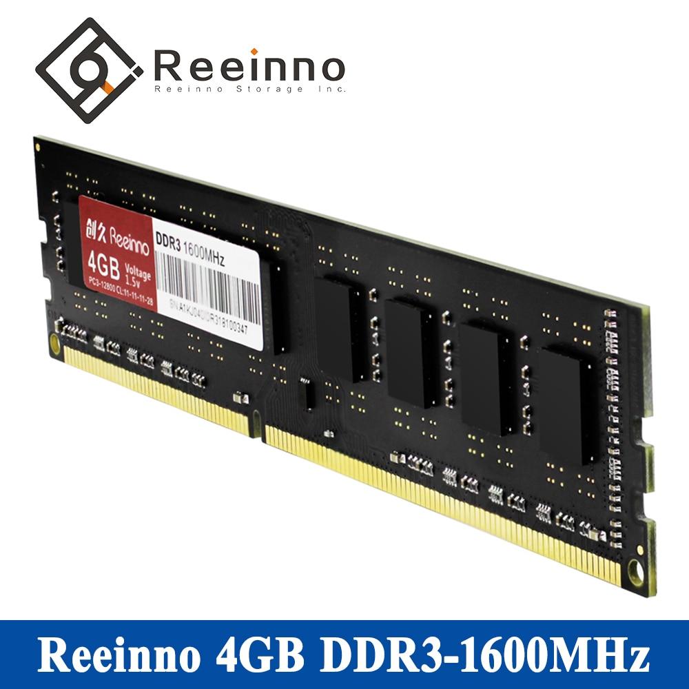 Reeinno RAM Memory DDR3 4GB/8GB Frequency 1600MHz 11-11-11-28 Interface Type 240pin Lifetime warranty Single desktop memory RAMs