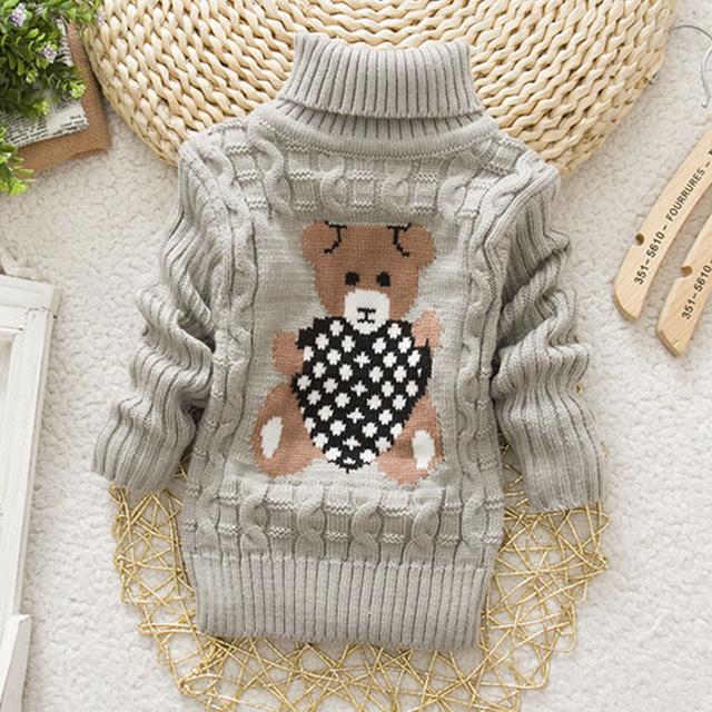 New Cartoon Autumn Winter Baby Boys Girls Kids Children's Babi Warm Turtleneck Sweaters Pullover Cardigans Top clothes Outerwear