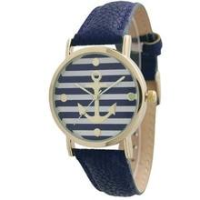 Самые продаваемые модели очень простые модные женские часы известных брендов женские часы Geneva полосатый якорь стиль кожаные часы-темно-синий