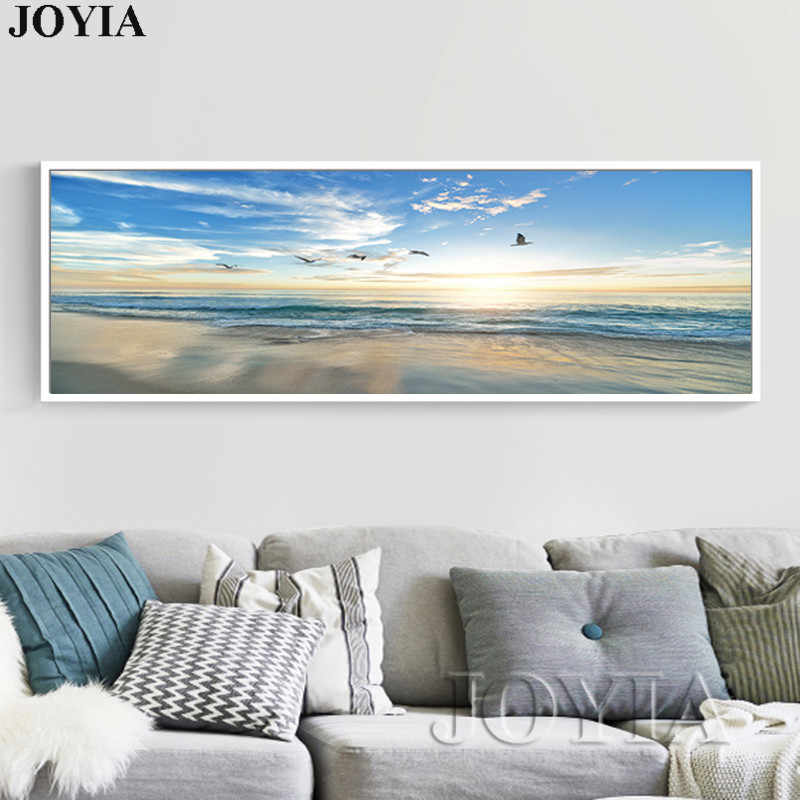 Large Single Sea Painting Seascape Beach Picture Dusk Waves Seagull Wall Picture For Bedroom Living Room Decoration No Frame