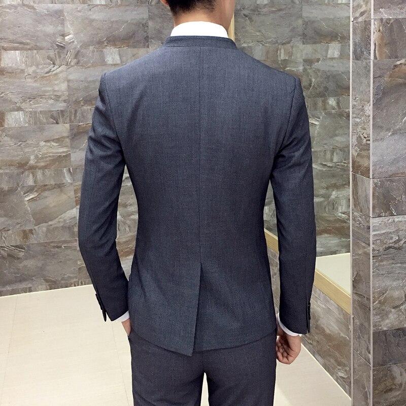 2017 nova korejska poročna obleka stojalo ovratnik suknjič moški - Moška oblačila - Fotografija 6